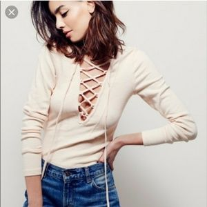 SOLD Free People Lucky Lace Up Top